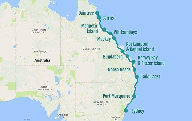 Itinéraire d'un road trip Sydney Cairns
